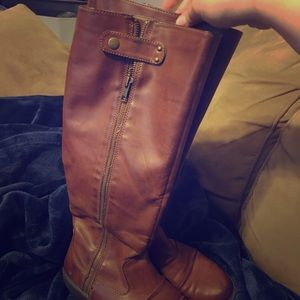 Tan faux leather mid calf boots